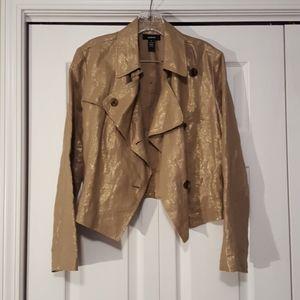 Alfani gold linen cropped jacket size 8 EUC